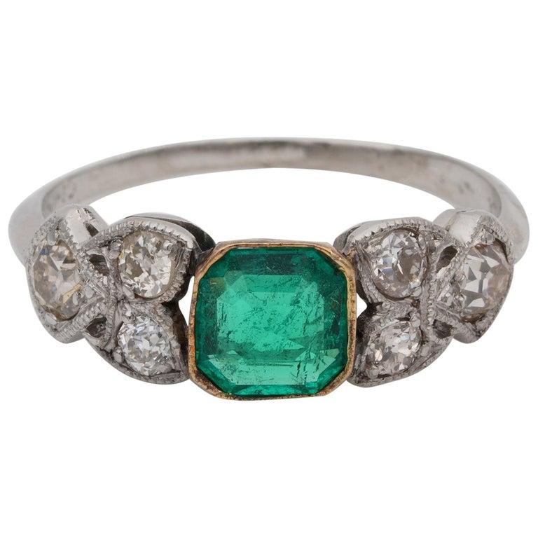 Art Nouveau .60 Carat Colombian Emerald .50 Carat Old Mine Diamond Ring