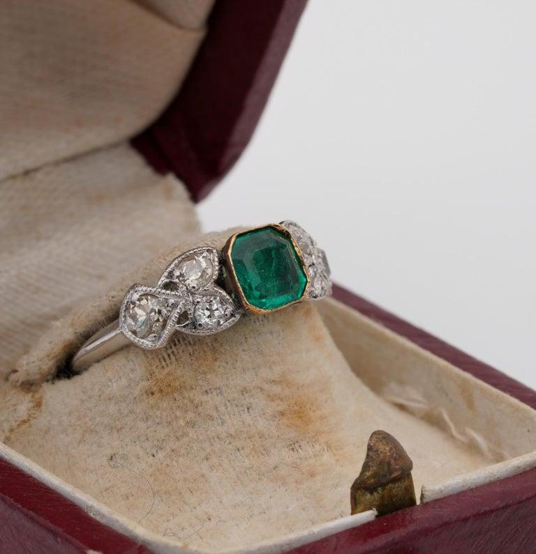 Emerald Cut Art Nouveau .60 Carat Colombian Emerald .50 Carat Old Mine Diamond Ring