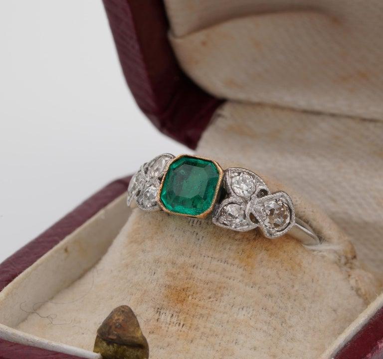Art Nouveau .60 Carat Colombian Emerald .50 Carat Old Mine Diamond Ring In Fair Condition In Napoli, IT