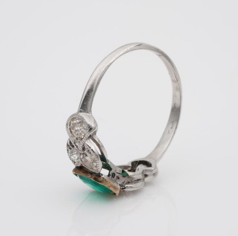 Women's Art Nouveau .60 Carat Colombian Emerald .50 Carat Old Mine Diamond Ring