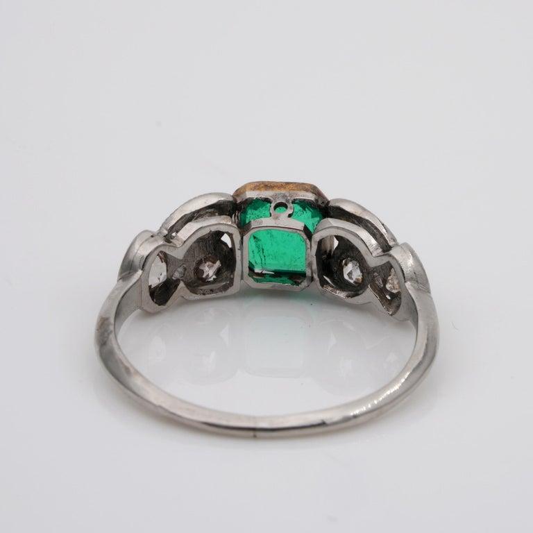 Art Nouveau .60 Carat Colombian Emerald .50 Carat Old Mine Diamond Ring 1