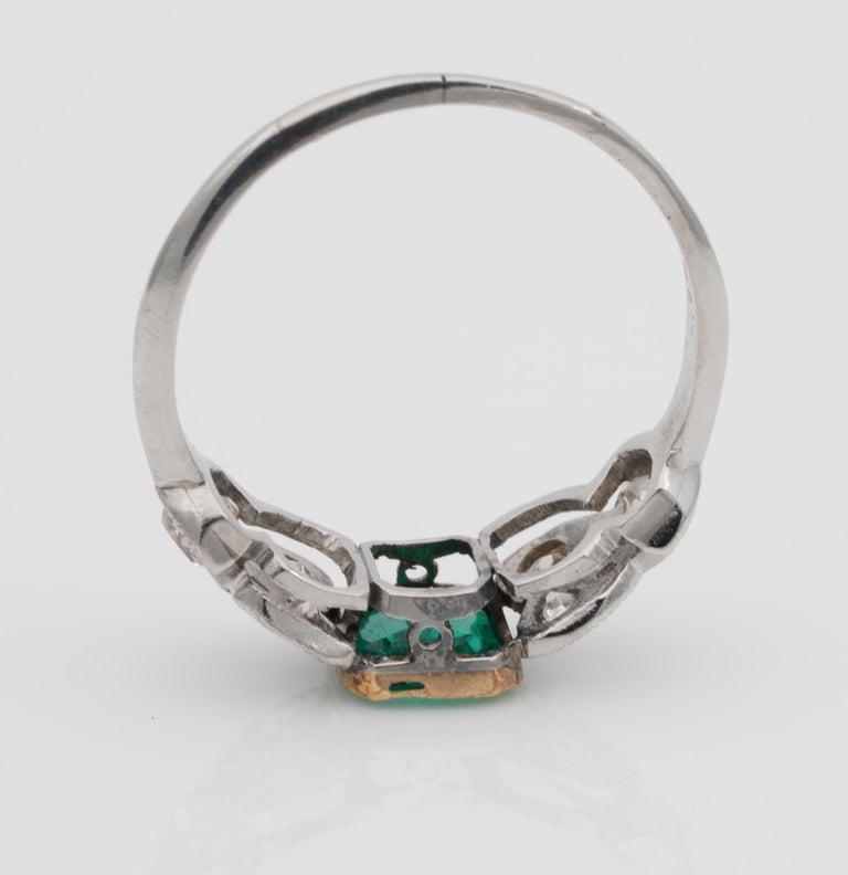 Art Nouveau .60 Carat Colombian Emerald .50 Carat Old Mine Diamond Ring 2