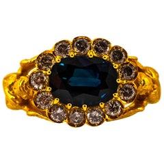 Art Nouveau 6.13 Carat White Diamond Blue Sapphire Yellow Gold Cocktail Ring