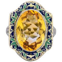 Art Nouveau 6.15 Carat Citrine Enamel 14 Karat White Gold Cocktail Ring