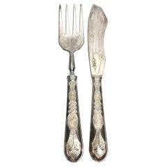 Art Nouveau 800 Silver Fish Servers Serving Set Fork & Knife Vintage, Sweden