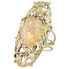 Art Nouveau 8.35 Carat Opal Foliate Ring