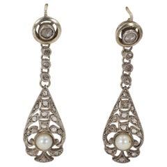Art Nouveau 9 Karat White Gold, Silver, Diamond and Pearl Earrings