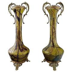 Art Nouveau a Pair of Large Art Glass Vases, Bronze Fittings, circa 1900