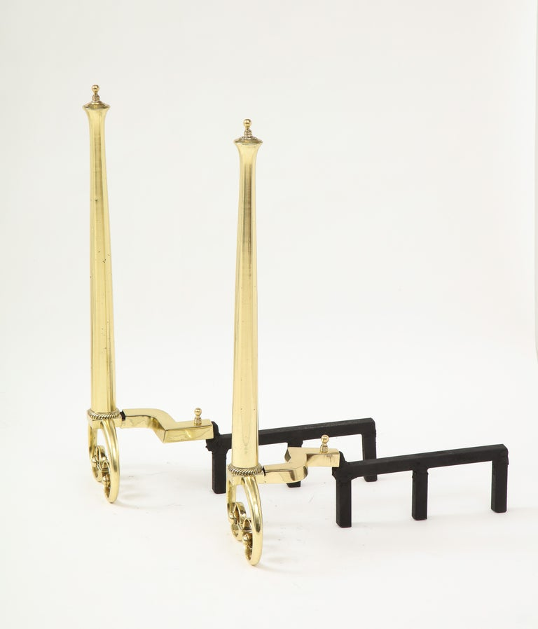 Art Nouveau Aged Brass Andirons In Good Condition For Sale In New York, NY
