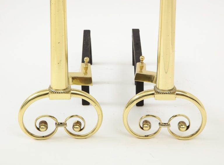 Art Nouveau Aged Brass Andirons For Sale 2