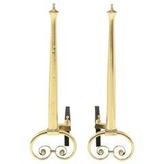 Art Nouveau Aged Brass Andirons