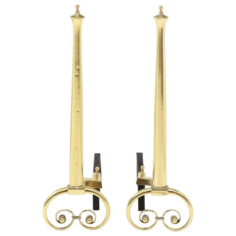 Art Nouveau Aged Brass Andirons For Sale