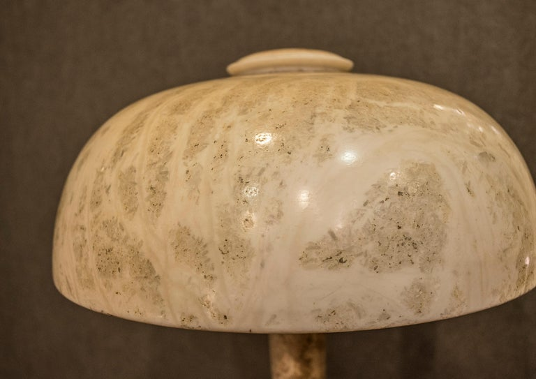 Art Nouveau French  table lamp in Alabaster Beige Mushroom Shaped , 1900 For Sale 6