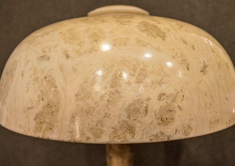 Art Nouveau French  table lamp in Alabaster Beige Mushroom Shaped , 1900 For Sale 7