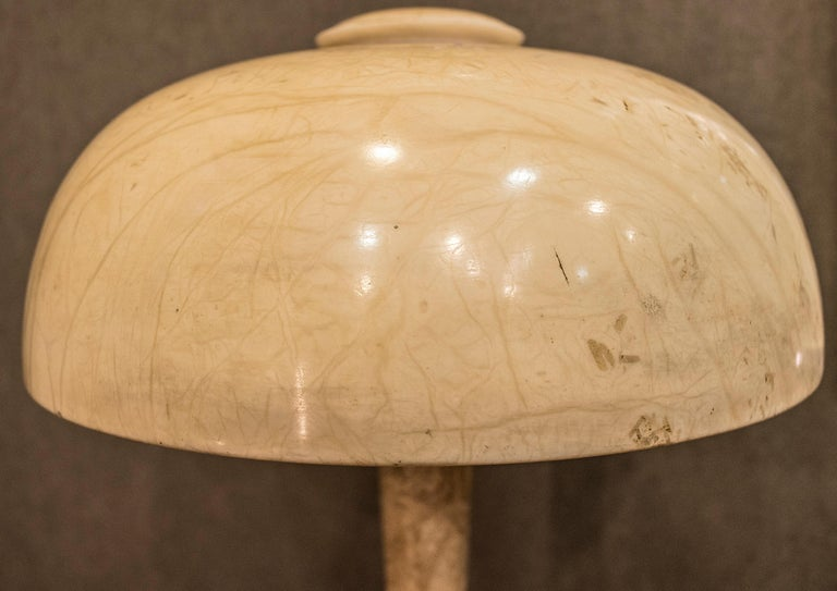 Art Nouveau French  table lamp in Alabaster Beige Mushroom Shaped , 1900 For Sale 4