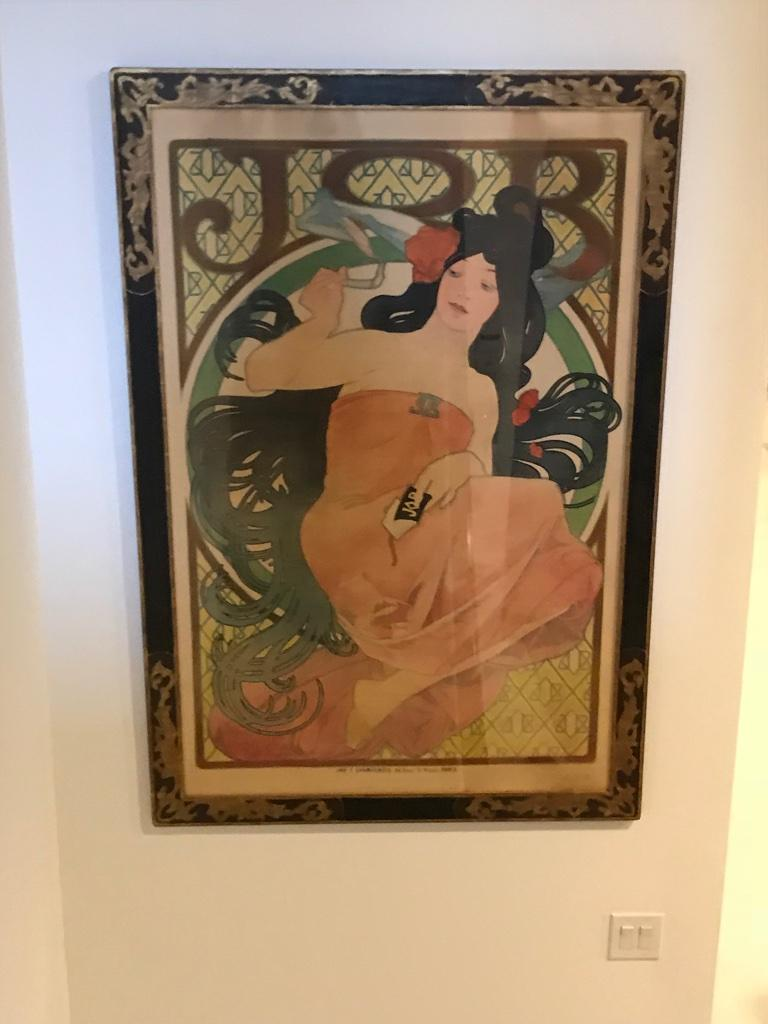 Alphonse Mucha 1898 JOB poster. Excellent condition with beautiful frame under plexiglass ready to hang. Poster for 'Job' cigarette paper (1898) 'JOB' is a trademark for the Joseph Bardou Company, manufacturers of cigarette papers.