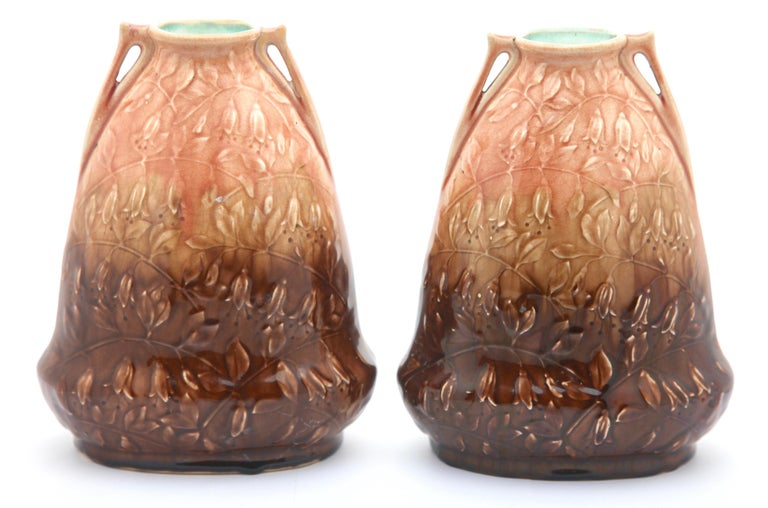 Art Nouveau AMC, Wasmuel, Floral Decoration Glazed Vase Made in Belgium, 1920s In Good Condition For Sale In Verviers, BE