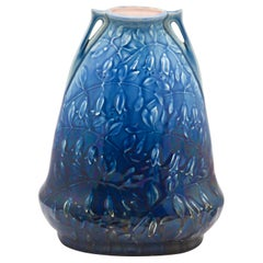 Art Nouveau AMC, Wasmuel, Floral Decoration Glazed Vase Made in Belgium, 1920s