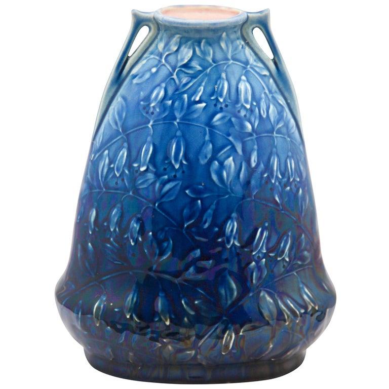 Art Nouveau AMC, Wasmuel, Floral Decoration Glazed Vase Made in Belgium, 1920s For Sale