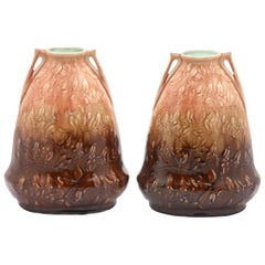 Art Nouveau AMC, Wasmuel, Floral Decoration Glazed Vase Made in Belgium, 1920s