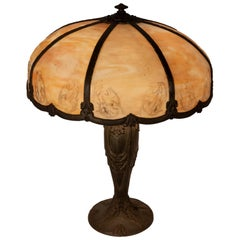 Art Nouveau American Slag Glass Lamp with Etched Shade, 'circa 1900'