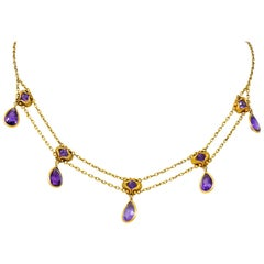 Art Nouveau Amethyst 14 Karat Gold Swag Style Necklace