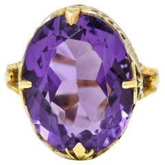 Art Nouveau Amethyst 14 Karat Two-Tone Gold Butterfly Statement Ring