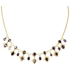 Art Nouveau Amethyst 15 Carat Gold Necklace by Liberty & Co.