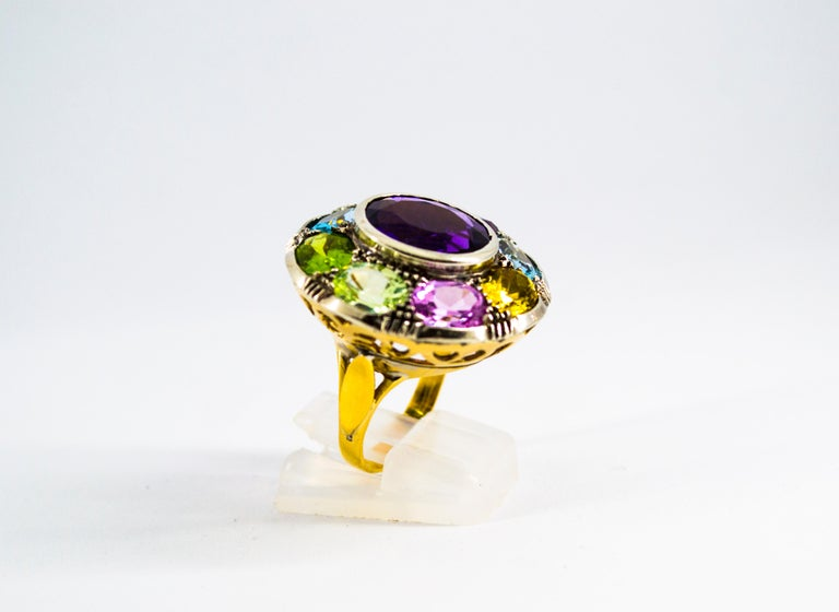 Art Nouveau Amethyst Blue Topaz Quartz Peridot Citrine Yellow Gold Cocktail Ring In New Condition For Sale In Naples, IT