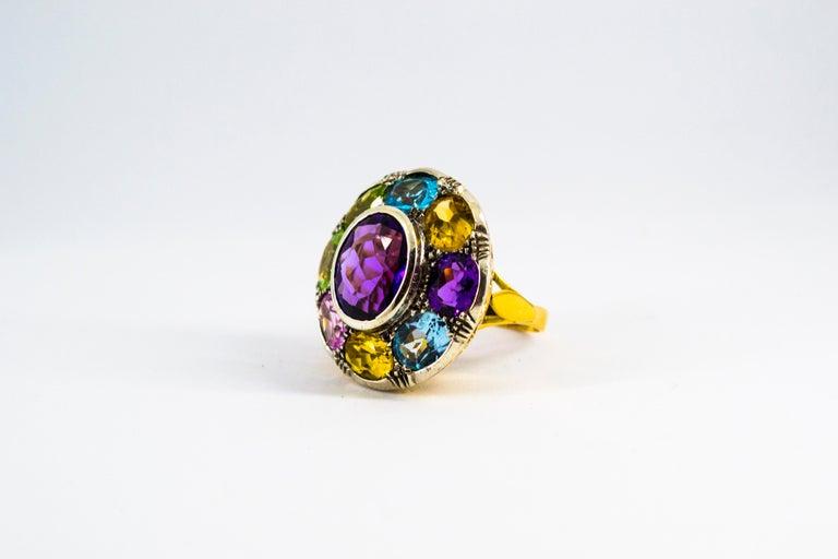 Women's or Men's Art Nouveau Amethyst Blue Topaz Quartz Peridot Citrine Yellow Gold Cocktail Ring For Sale