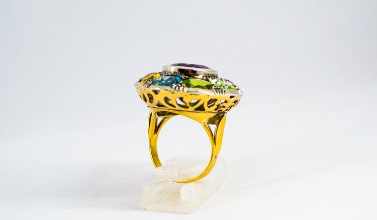 Art Nouveau Amethyst Blue Topaz Quartz Peridot Citrine Yellow Gold Cocktail Ring For Sale 1