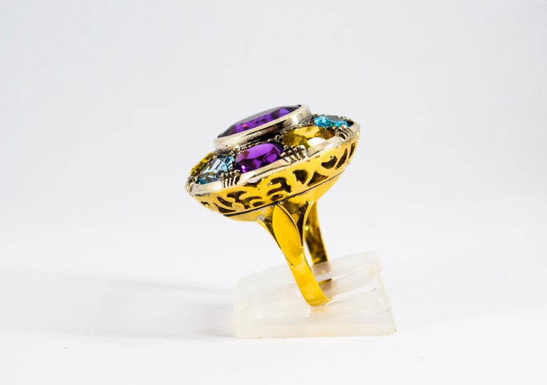 Art Nouveau Amethyst Blue Topaz Quartz Peridot Citrine Yellow Gold Cocktail Ring For Sale 2