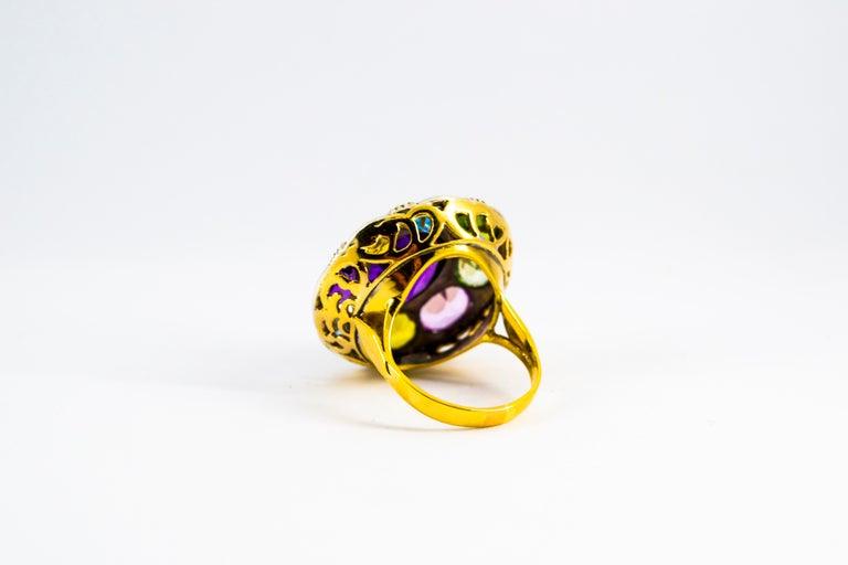 Art Nouveau Amethyst Blue Topaz Quartz Peridot Citrine Yellow Gold Cocktail Ring For Sale 3