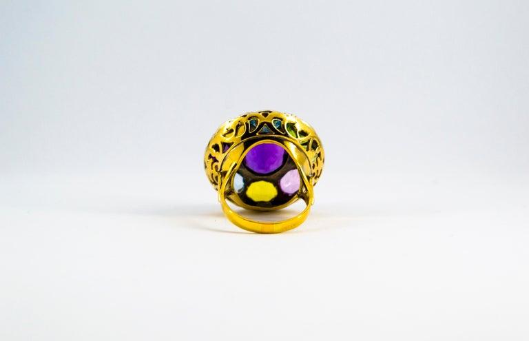 Art Nouveau Amethyst Blue Topaz Quartz Peridot Citrine Yellow Gold Cocktail Ring For Sale 5