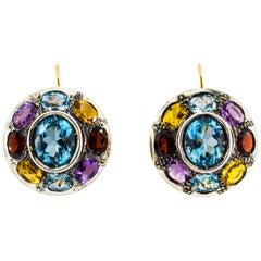 Art Nouveau Amethyst Blue Topaz Quartz Peridot Citrine Yellow Gold Earrings