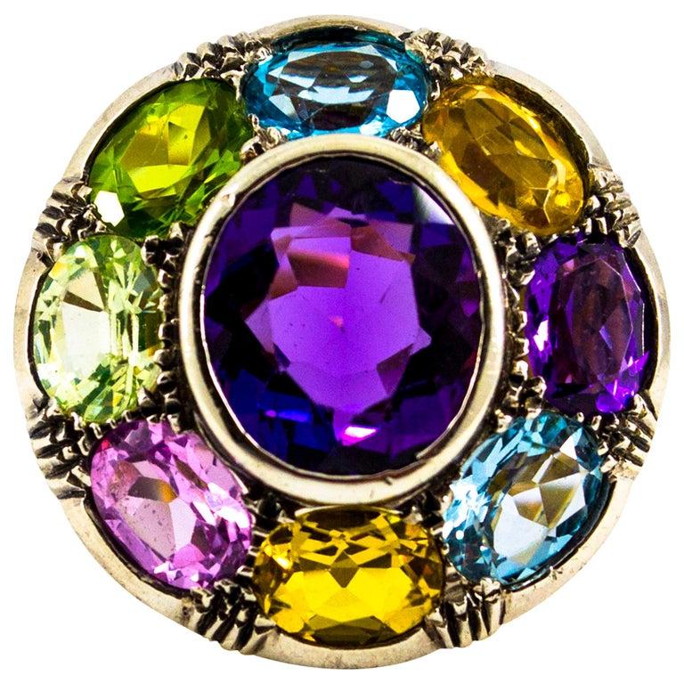 Art Nouveau Amethyst Blue Topaz Quartz Peridot Citrine Yellow Gold Cocktail Ring For Sale