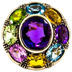 Art Nouveau Amethyst Blue Topaz Quartz Peridot Citrine Yellow Gold Cocktail Ring
