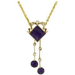 Art Nouveau Amethyst Drop Necklace Diamond Lavalier Negligee Art Deco Geometric