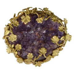 Art Nouveau Amethyst Geode Leaf Design Pin Brooch Pendant