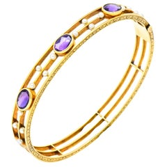 Art Nouveau Amethyst Pearl 14 Karat Gold Bangle Bracelet