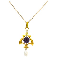 Art Nouveau Amethyst Pearl Enamel 14 Karat Gold Pendant Necklace