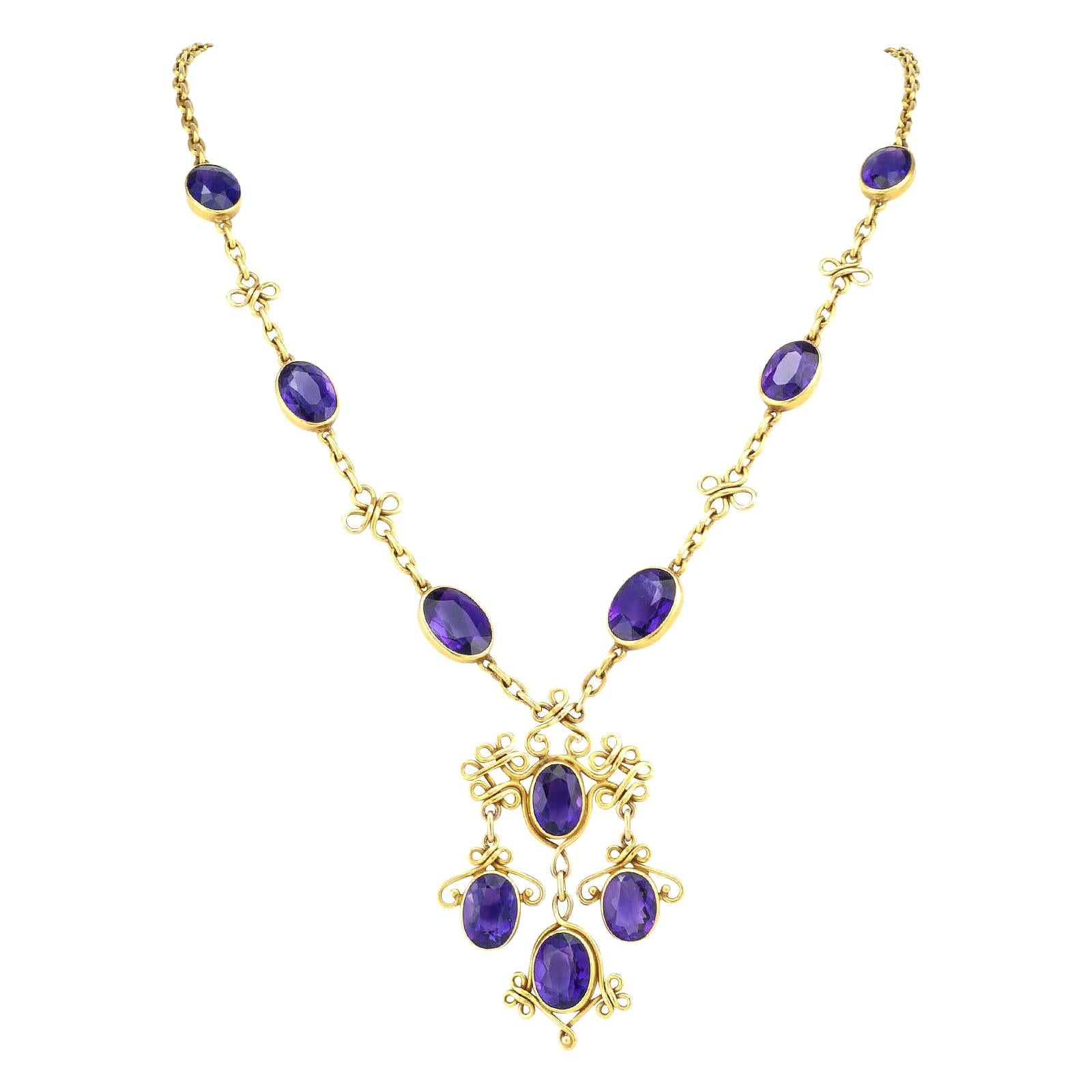 Art Nouveau Amethyst Yellow Gold Necklace