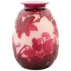 Art-Nouveau and Art-Deco Fine Cameo Glass Vase by Emile Gallé, Signed