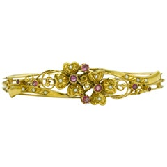 Art Nouveau Antique Bangle Bracelet Pink Sapphire Pearls Flower 19 Karat Gold