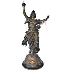 Art Nouveau Antique Lady Bronze 19th Century Large