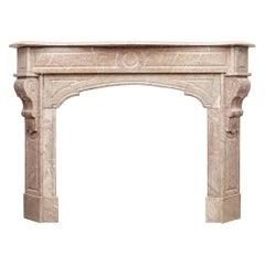 Art Nouveau Antique Marble Fireplace