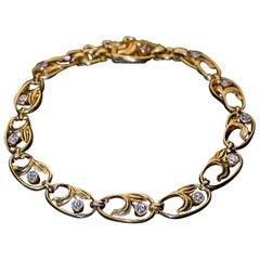 Art Nouveau Antique Russian Diamond Gold Link Bracelet