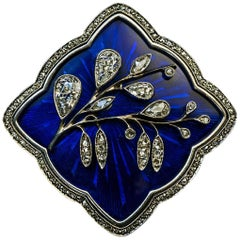 Art Nouveau Antique Russian Diamond Guilloche Enamel Gold Brooch