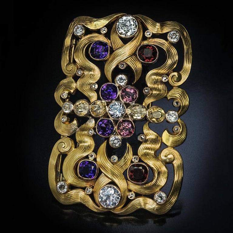 Art Nouveau Antique Russian Jeweled Gold Belt Buckle Brooch In Excellent Condition For Sale In Chicago, IL