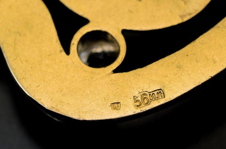 Art Nouveau Antique Russian Jeweled Gold Belt Buckle Brooch For Sale 1